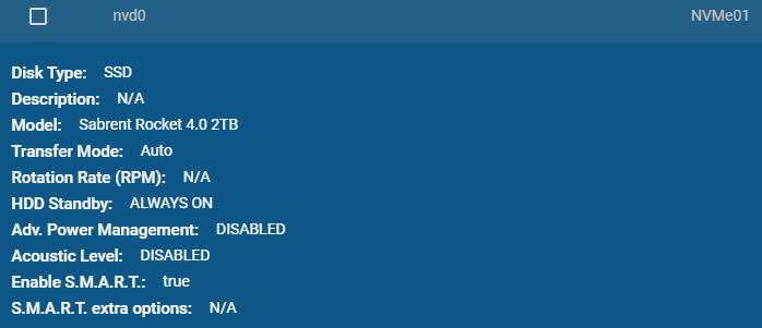 Screenshot of Sabrent Rocket 4 2TB NVMe SSD on FreeNAS