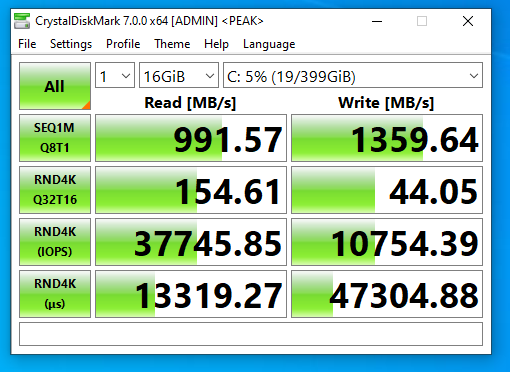 Screenshot of benchmark with CrystalDiskMark on FreeNAS NFS SSD datastore without compression and deduplication