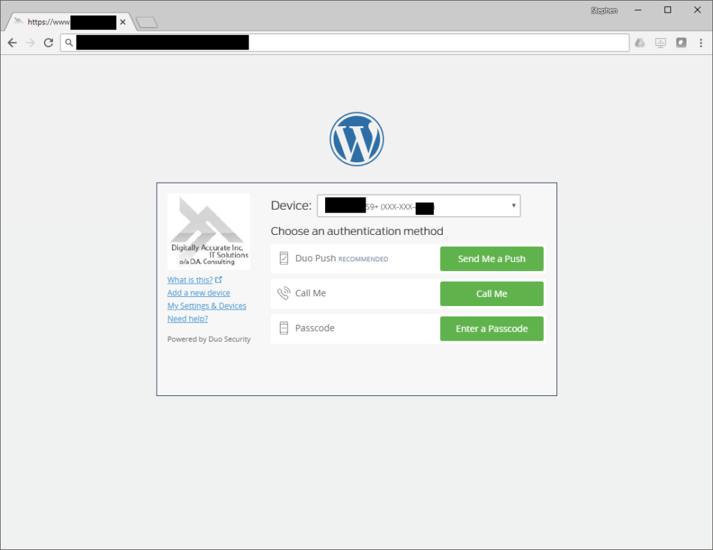 Screenshot of Duo MFA 2FA Prompt on WordPress Login