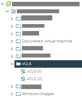 VMware vCLS VM in vSphere Cluster Objects
