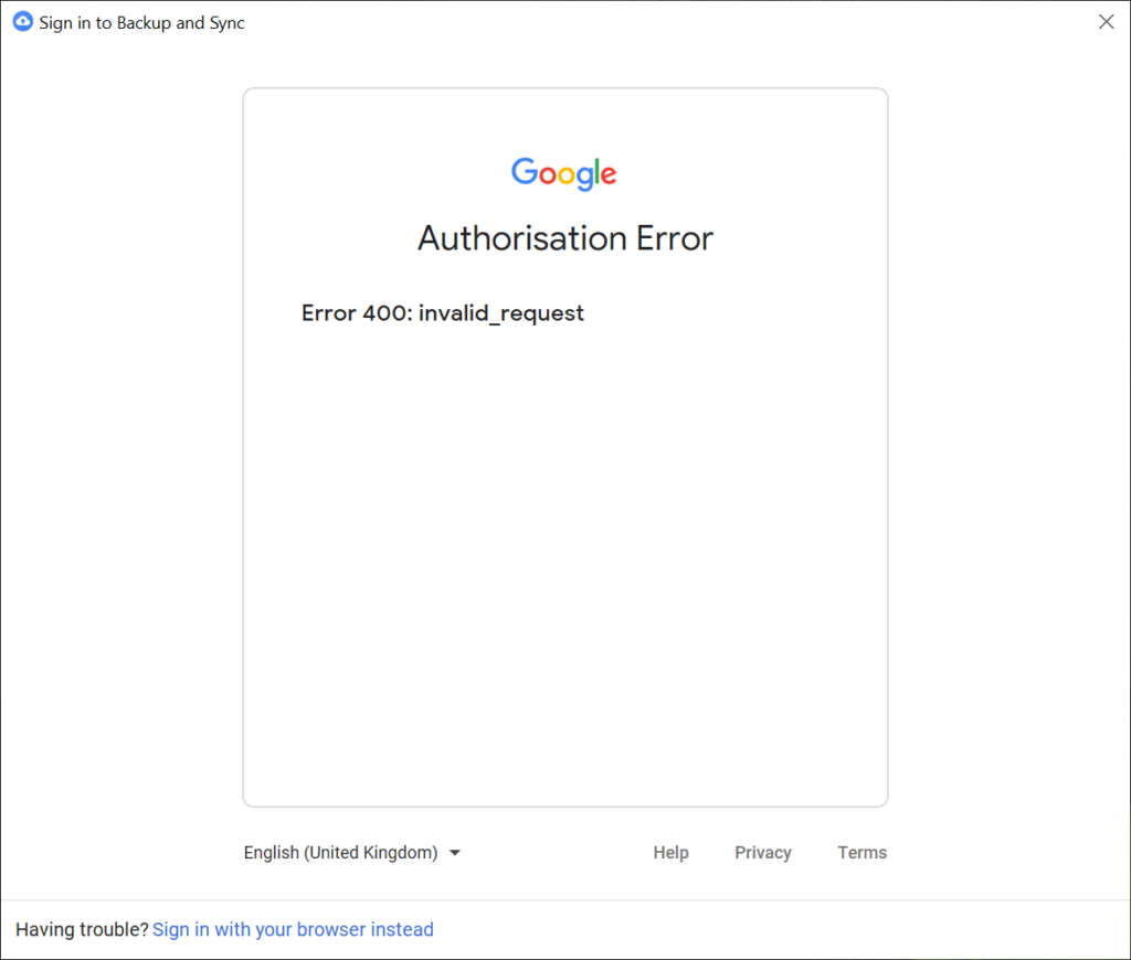 "Google Services, Backup and Sync from Google in a down state, asking to login but presenting a 400 ""invalid_request"" error."