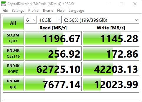 Screenshot of NVMe Storage Server iSCSI Benchmark with CrystalDiskMark