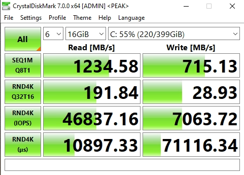 Screenshot of NVMe Storage Server NFS Benchmark with CrystalDiskMark