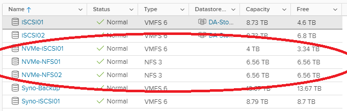 Screenshot of NVMe iSCSI and NFS ESXi Datastores