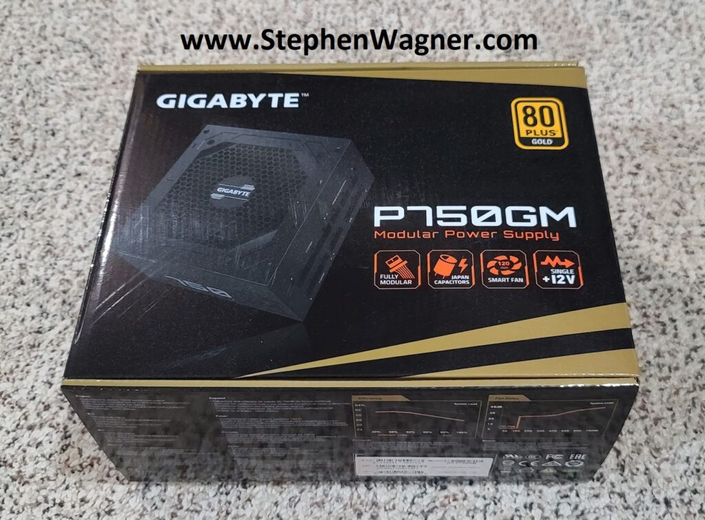 Picture of a Gigabyte P750GM Modular Power Supply (PSU)