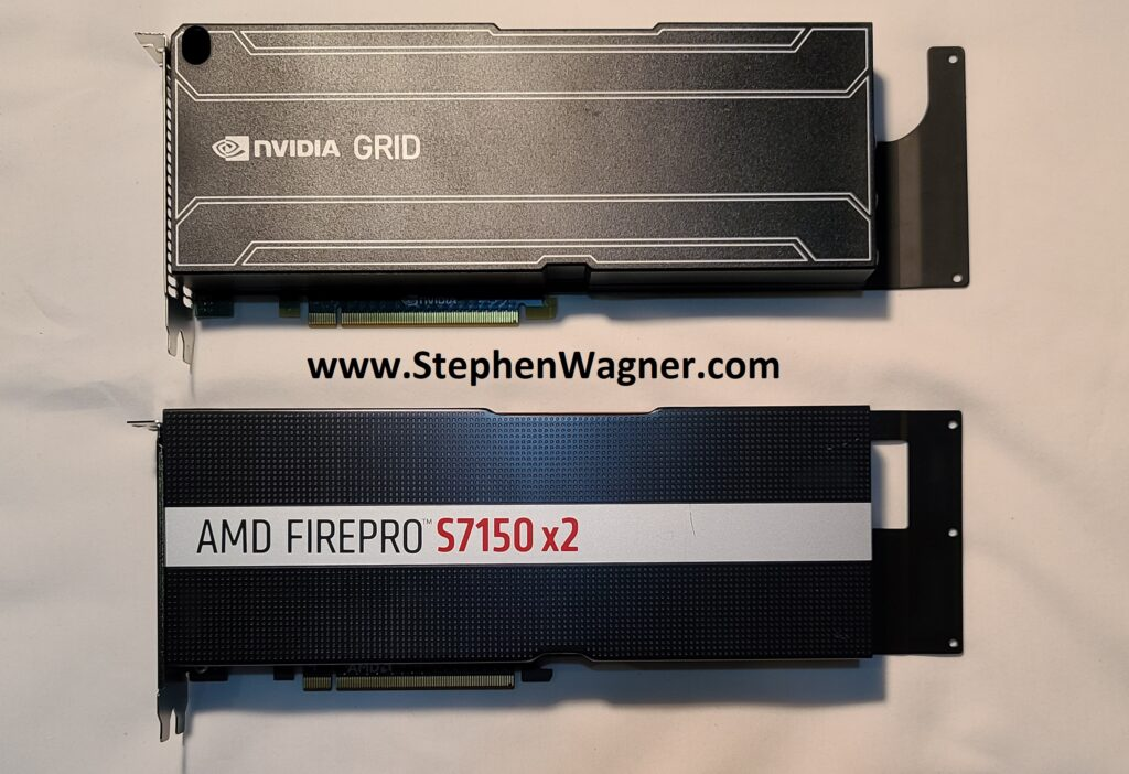 Image of a AMD S7150 X2 side by side with an Nvidia GRID K1 GPU Graphics Card