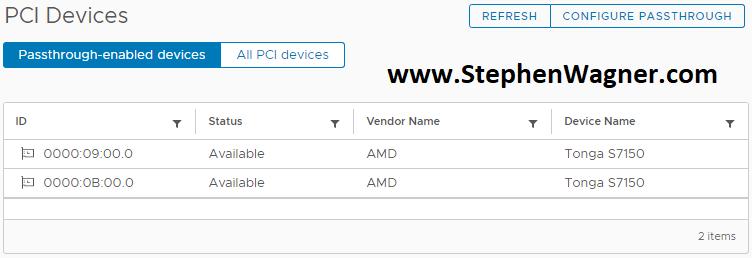 Screenshot of AMD S7150 X2 PCIe Passthru ESXi 6.5
