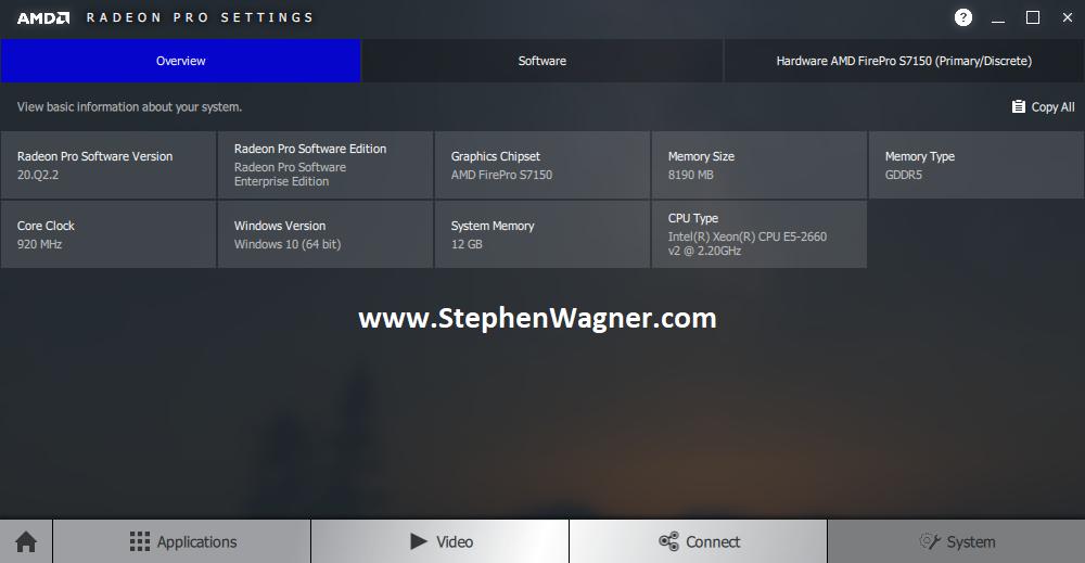 Screenshot of Overview Tab of AMD Radeon Pro Settings with AMD S7150 X2 Passthru on ESXi VDI VM