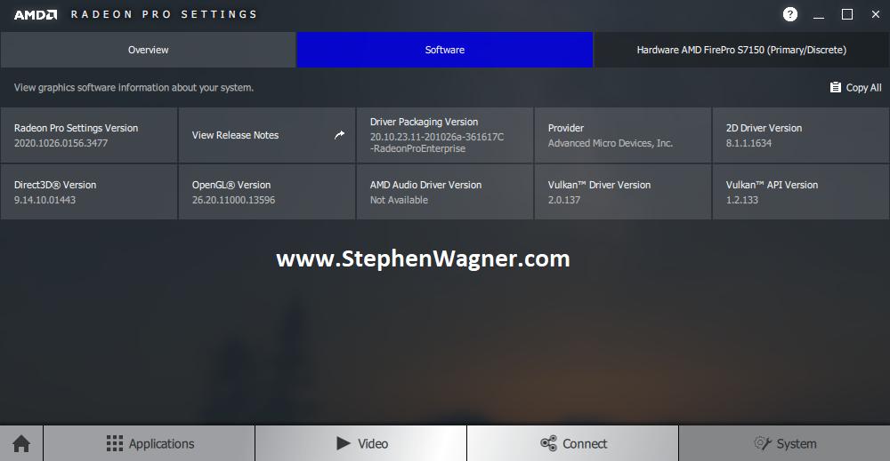 Screenshot of Software Tab of AMD Radeon Pro Settings with AMD S7150 X2 Passthru on ESXi VDI VM