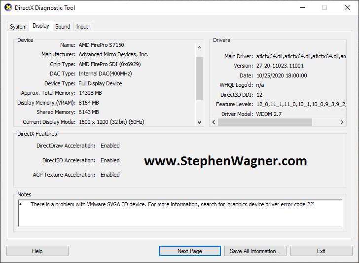 Screenshot of AMD S7150 X2 ESXi Passthru Running dxdiag