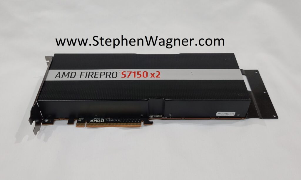 A picture of an AMD S7150 x2 PCIe mxGPU Card