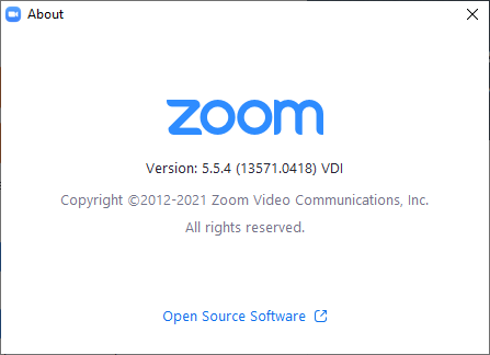 Zoom for VDI About Screenshot
