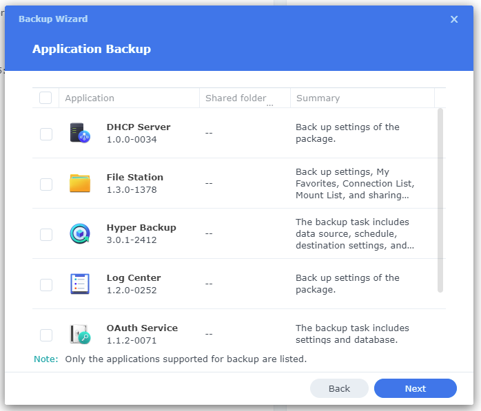 Hyper Backup Application Backup