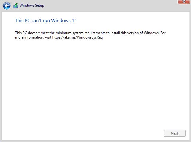 Windows 11 Fresh Install - This PC can't run Windows 11