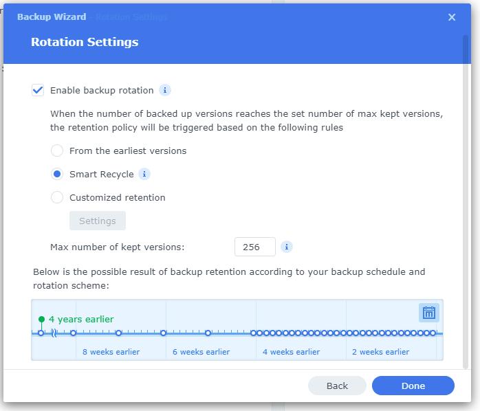 Hyper Backup Rotation Settings