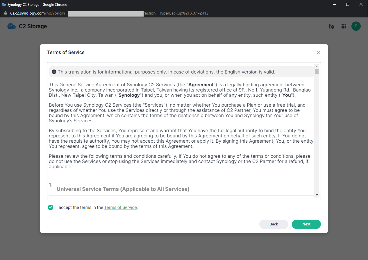 Synology C2 Storage - Terms of Service
