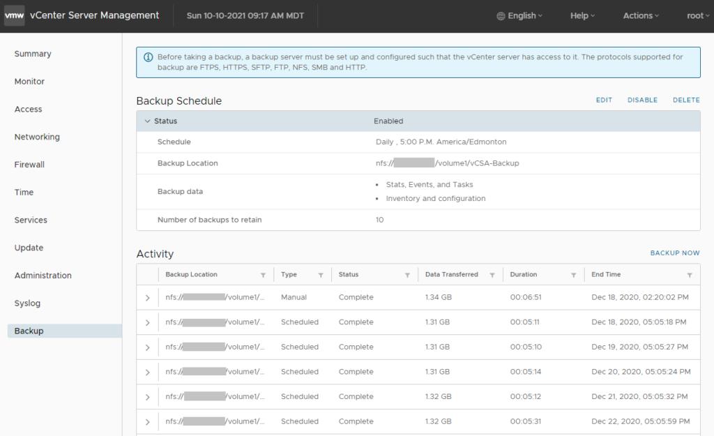 vCSA Backup Screenshot